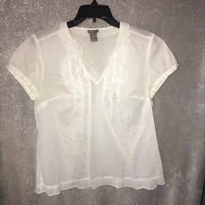 Ann Taylor white top with ruffles